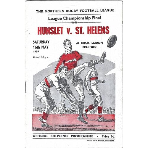 1959 Hunslet v St. Helens Northern Rugby League Championship Final Programme