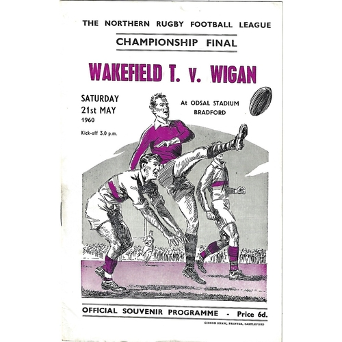 1960 Wakefield Trinity v Wigan Northern Rugby League Championship Final Programme