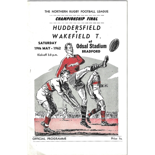 1962 Huddersfield v Wakefield Trinity Northern Rugby League Championship Final Programme