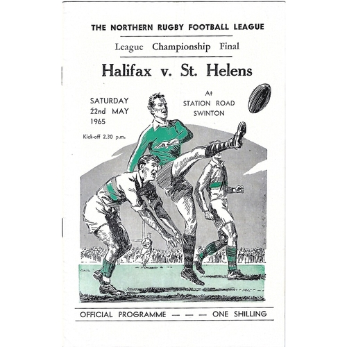 1965 Halifax v St. Helens Northern Rugby League Championship Final Programme