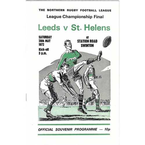 Northern Rugby League Championship Final Rugby League Programmes