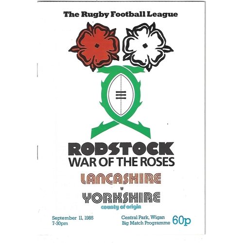 1985 Lancashire v Yorkshire Rostock Cup Rugby League Programme