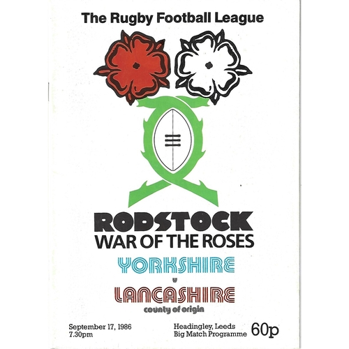 1986 Yorkshire v Lancashire Rostock Cup Rugby League Programme