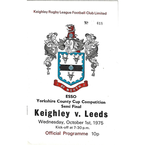 1975 Keighley v Leeds Yorkshire County Challenge Cup Semi Final Rugby League Programme
