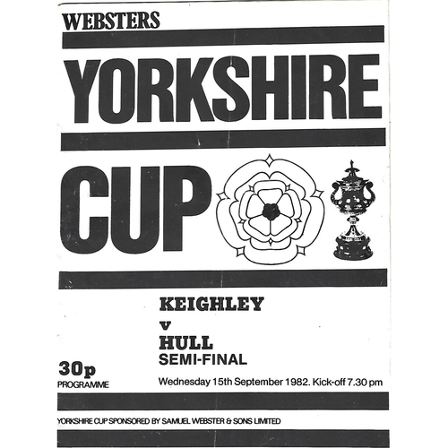1982 Keighley v Hull Yorkshire County Challenge Cup Semi Final Rugby League Programme
