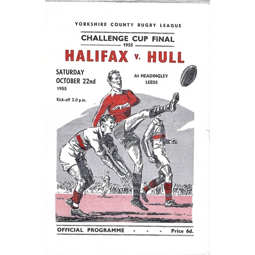 1955 Halifax v Hull Yorkshire County Challenge Cup Final Rugby League Programme