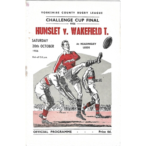 1956 Hunslet v Wakefield Trinity Yorkshire County Challenge Cup Final Rugby League Programme