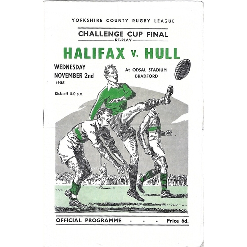 1955 Halifax v Hull Yorkshire County Challenge Cup Final Reply Rugby League Programme