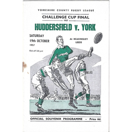 1957 Huddersfield v York Yorkshire County Challenge Cup Final Rugby League Programme