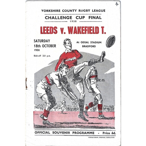 1958 Leeds v Wakefield Trinity Yorkshire County Challenge Cup Final Rugby League Programme