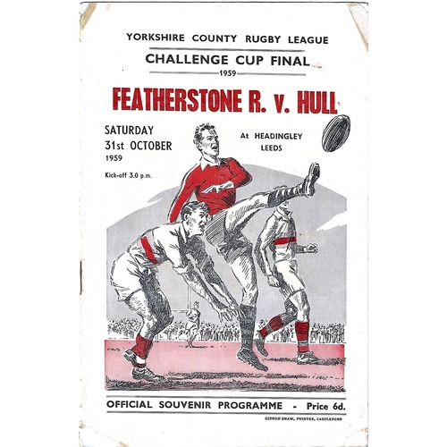 1959 Featherstone Rovers v Hull Yorkshire County Challenge Cup Final Rugby League Programme