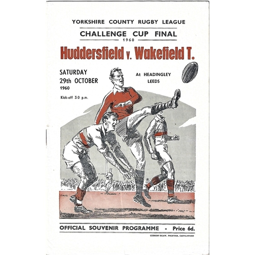 1960 Huddersfield v Wakefield Trinity Yorkshire County Challenge Cup Final Rugby League Programme