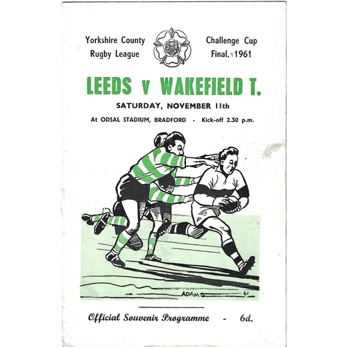 1961 Leeds v Wakefield Trinity Yorkshire County Challenge Cup Final Rugby League Programme