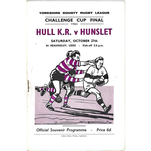 1962 Hull Kingston Rovers v Hunslett Yorkshire County Challenge Cup Final Rugby League Programme