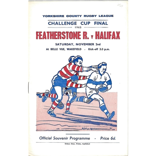 1963 Featherstone Rovers v Halifax Yorkshire County Challenge Cup Final Rugby League Programme