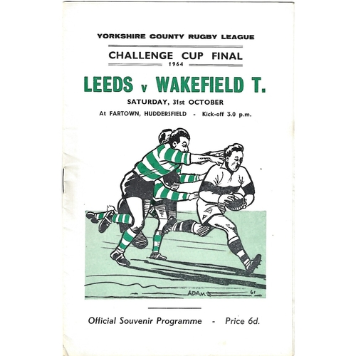 1964 Leeds v Wakefield Trinity Yorkshire County Challenge Cup Final Rugby League Programme