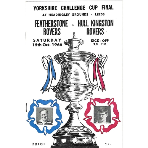 1966 Featherstone Rovers v Hull Kingston Rovers Yorkshire County Challenge Cup Final Rugby League Programme