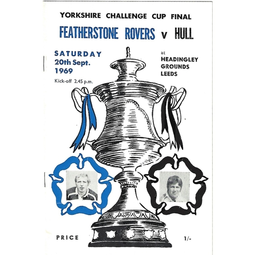 1969 Featherstone Rovers v Hull Yorkshire County Challenge Cup Final Rugby League Programme