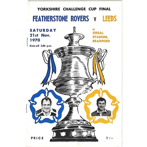 1970 Featherstone Rovers v Leeds Yorkshire County Challenge Cup Final Rugby League Programme