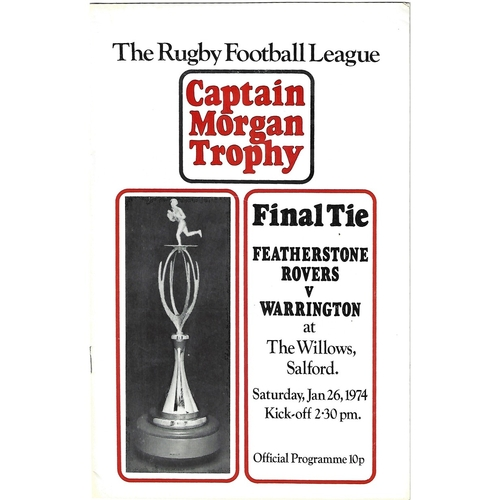 1974 Featherstone Rovers v Warrington Captain Morgan Trophy Final Rugby League Programme