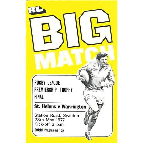 1977 St. Helens v Warrington Rugby League Premiership Trophy Final Programme