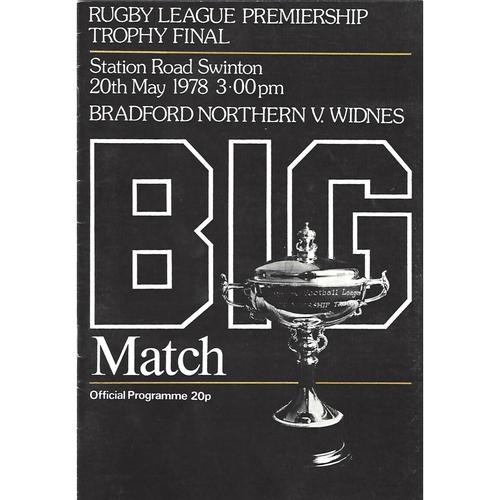 1978 Bradford Northern v Widnes Rugby League Premiership Trophy Final Programme