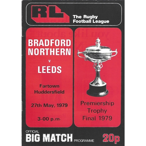 1979 Bradford Northern v Leeds Rugby League Premiership Trophy Final Programme