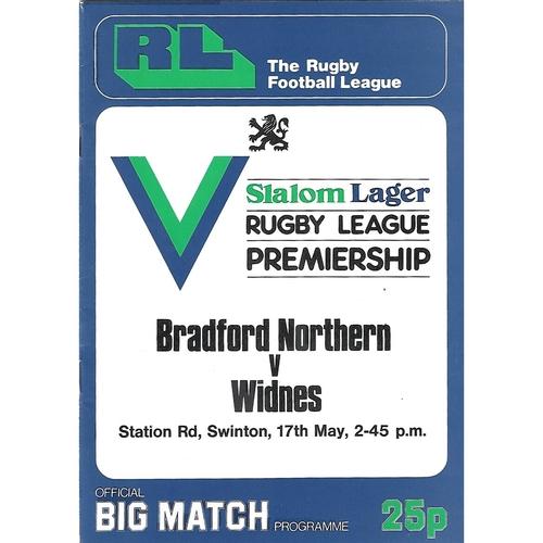 1980 Bradford Northern v Widnes Rugby League Premiership Trophy Final Programme