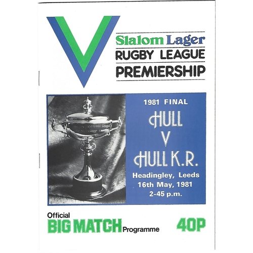 1981 Hull v Hull KIngston Rovers Rugby League Premiership Trophy Final Programme