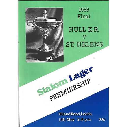 1985 Hull Kingston Rovers v St. Helens Rugby League Premiership Trophy Final Programme