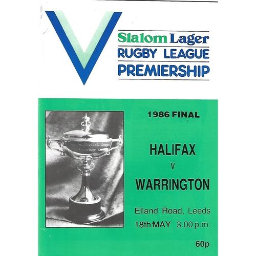 1986 Halifax v Warrington Rugby League Premiership Trophy Final Programme