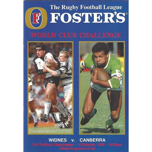 1989 Widnes v Canberra Rugby League World Club Challenge Programme