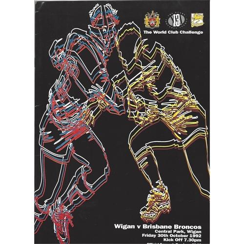 1992 Wigan v Brisbane Broncos Rugby League World Club Challenge Programme