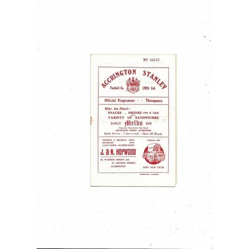 1954/55 Accrington Stanley v Barrow Football Programme