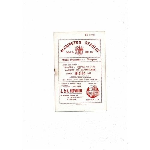 1954/55 Accrington Stanley v Barnsley Football Programme