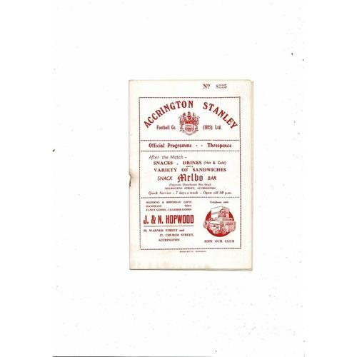 1954/55 Accrington Stanley v Crewe Alexandra Football Programme