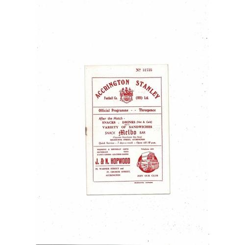 1954/55 Accrington Stanley v Halifax Town Football Programme