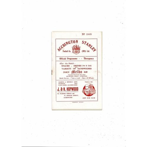 1954/55 Accrington Stanley v Rochdale Football Programme