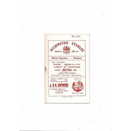 1954/55 Accrington Stanley v Wrexham Football Programme