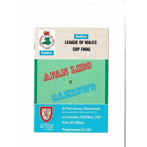 1993 Afan Lido v Caersws Welsh League Cup Final Football Programme