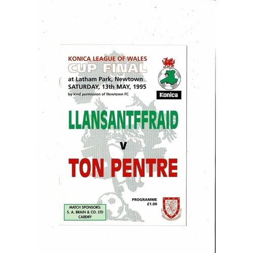 1995 Llansantffraid v Ton Pentre Welsh League Cup Final Football Programme