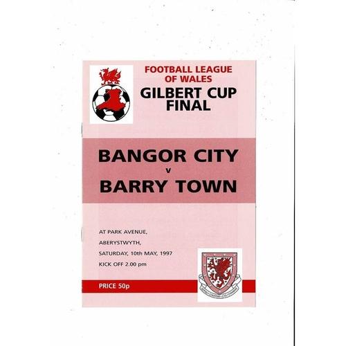 1997 Bangor City v Barry Town Welsh League Cup Final Football Programme