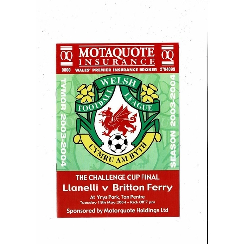 2004 Llanelli v Britton Ferry Welsh League Cup Final Football Programme