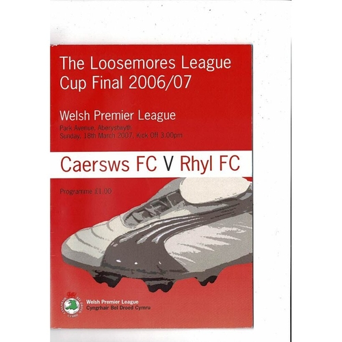 2007 Caersws v Rhyl Welsh League Cup Final Football Programme