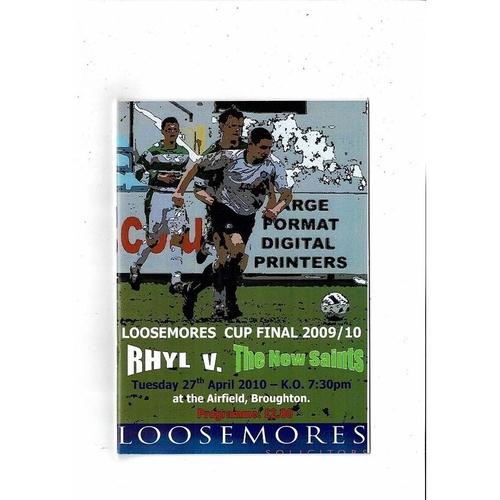 2010 Rhyl v New Saints Welsh League Cup Final Football Programme