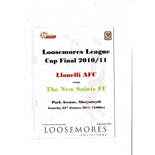 2011 Llanelli v New Saints Welsh League Cup Final Football Programme