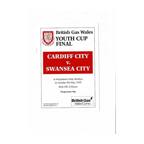 1990 Cardiff City v Swansea Welsh Youth Cup Final Football Programme