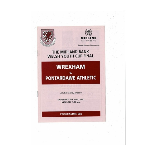 Welsh Youth Cup Inc's Finals & Semi Final Football Programmes
