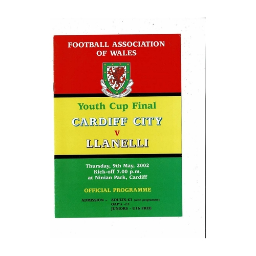 2002 Cardiff City v Llanelli Welsh Youth Cup Final Football Programme