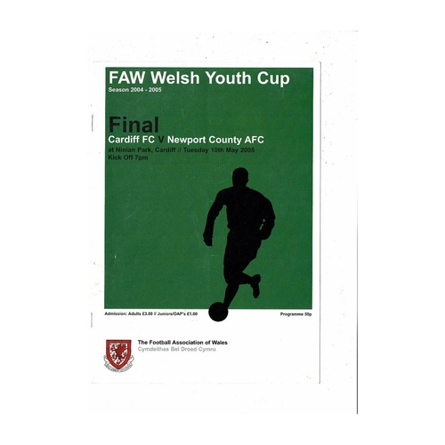 2005 Cardiff City v Newport County Welsh Youth Cup Final Football Programme
